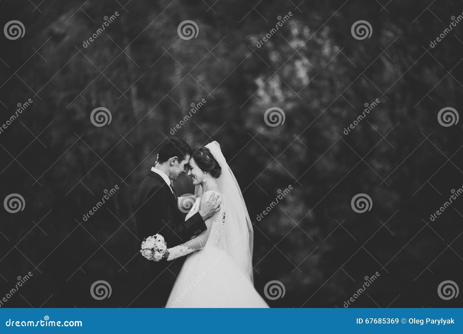 Hübscher romantischer Bräutigam und schöne Braut, die nahe Fluss in den szenischen Bergen aufwirft