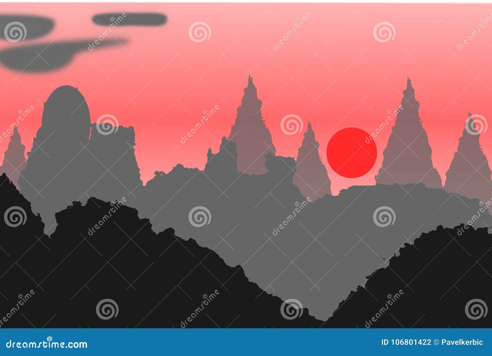 Download Hügel In China Im Sonnenaufgang Vektor Abbildung - Illustration von aufflackern, anordnung: 106801422