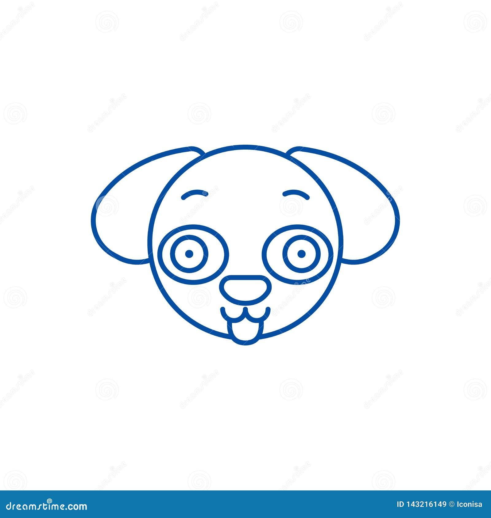 Hündchen emoji Linie Ikonenkonzept Hündchen emoji flaches Vektorsymbol, Zeichen, Entwurfsillustration