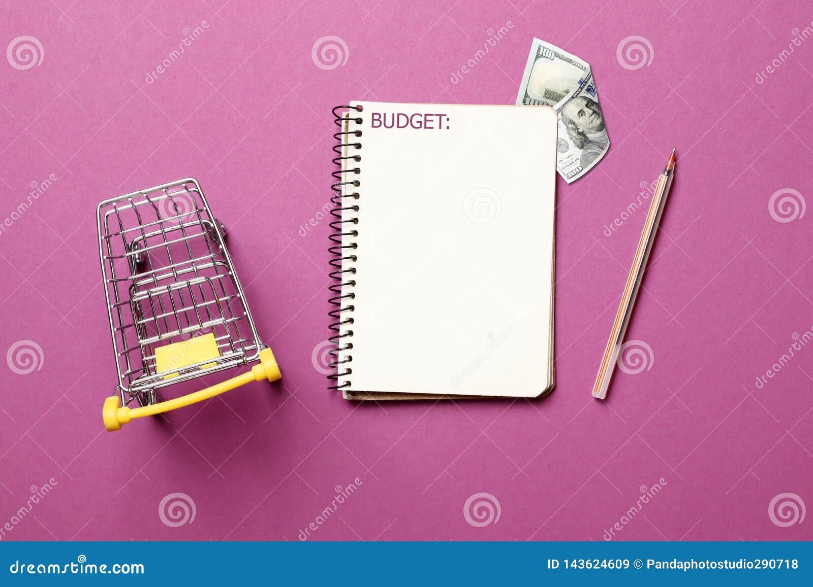 Hüpferwagen, Notizbuch des leeren Papiers mit Stift auf einem rosa Hintergrund
