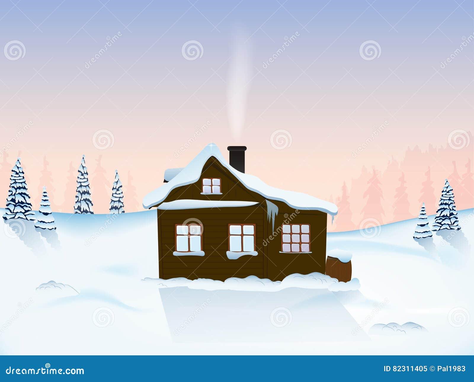 Hütte in den Bergen an der Dämmerung