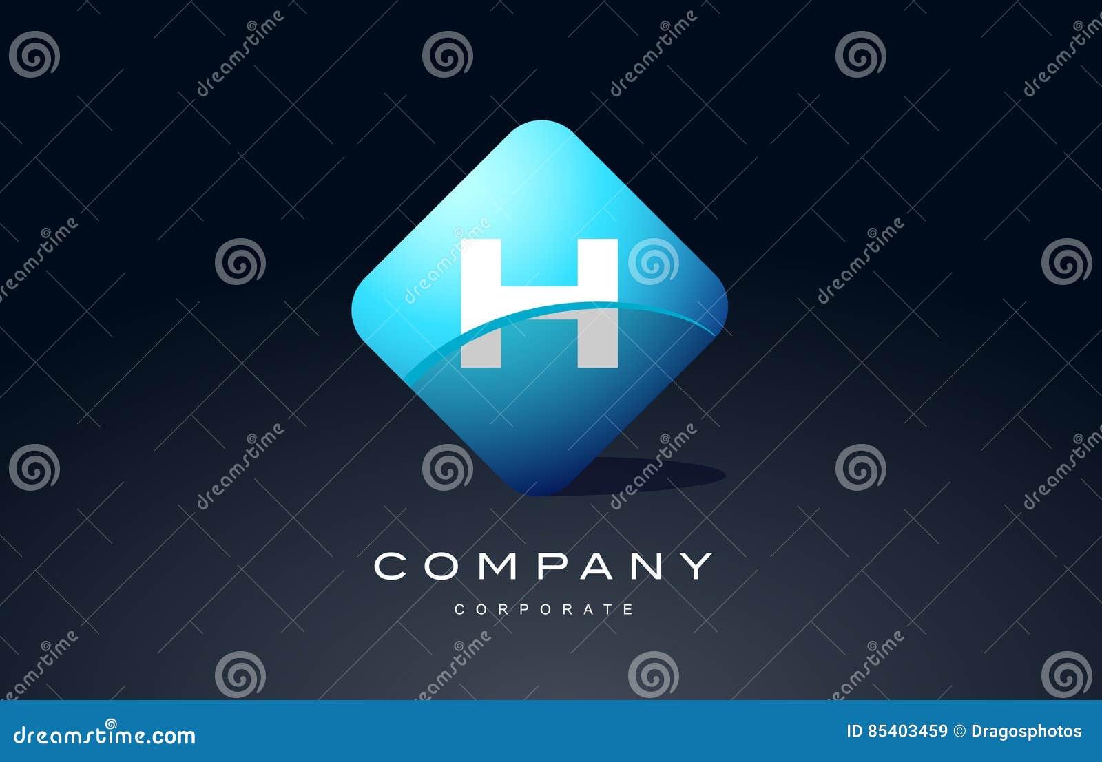 H Alphabet Blue Hexagon Letter Logo Vector Icon Design Stock