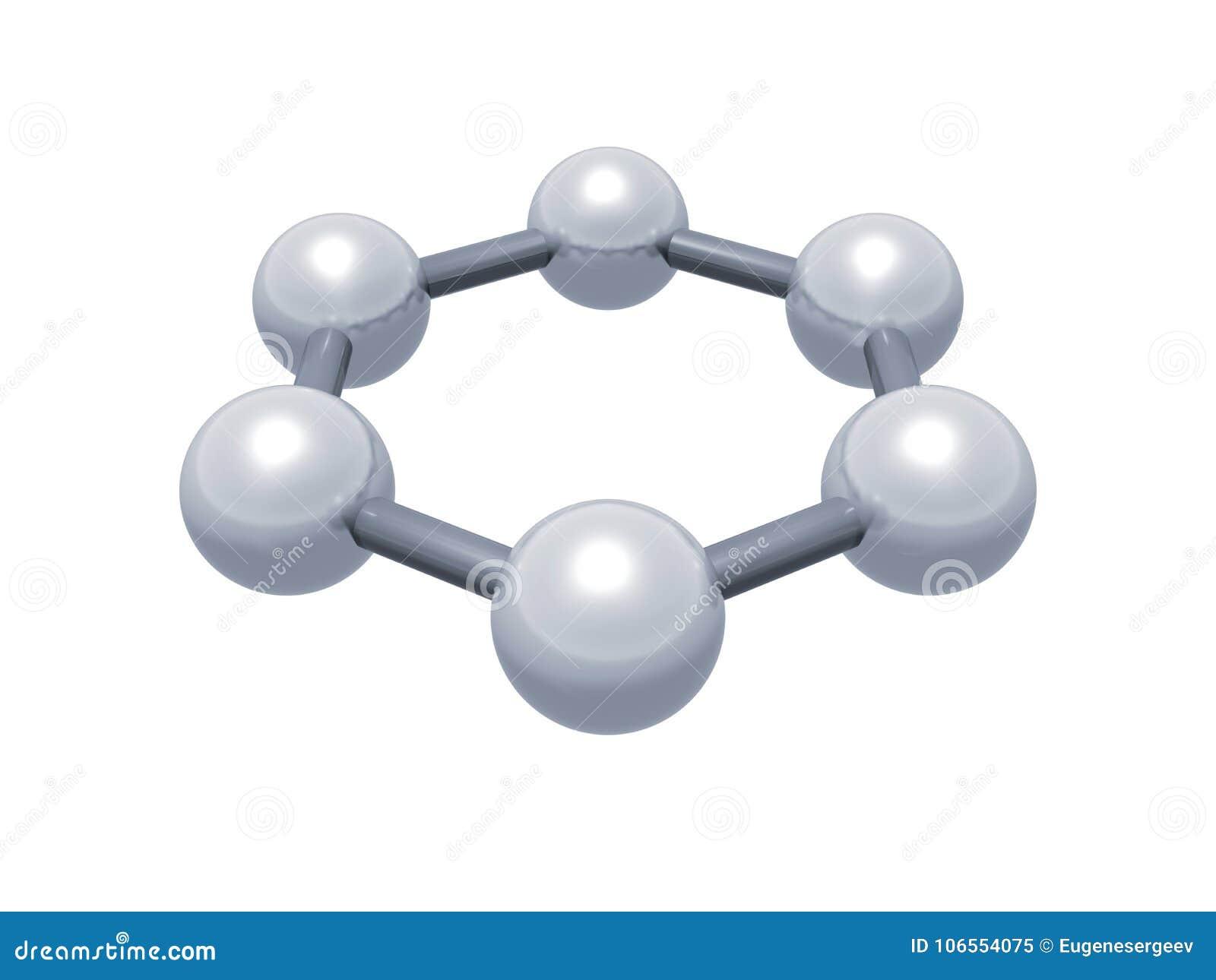 H6 Graphene Aromatic Cluster, Schematic 3d Stock Illustration
