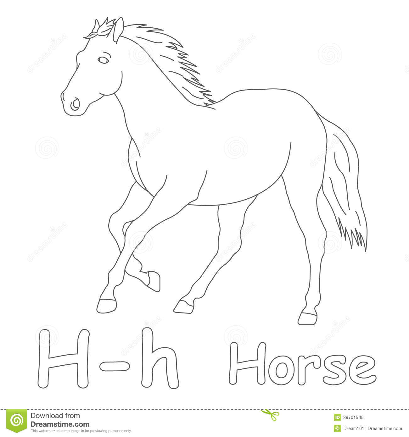 H for horse coloring page