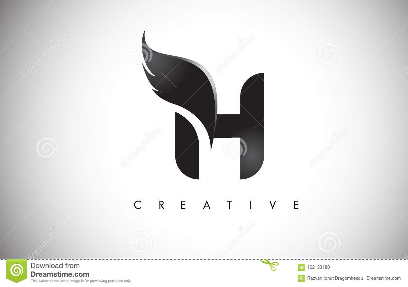 H Letter Wings Logo Design With Black Bird Fly Wing Icon Stock