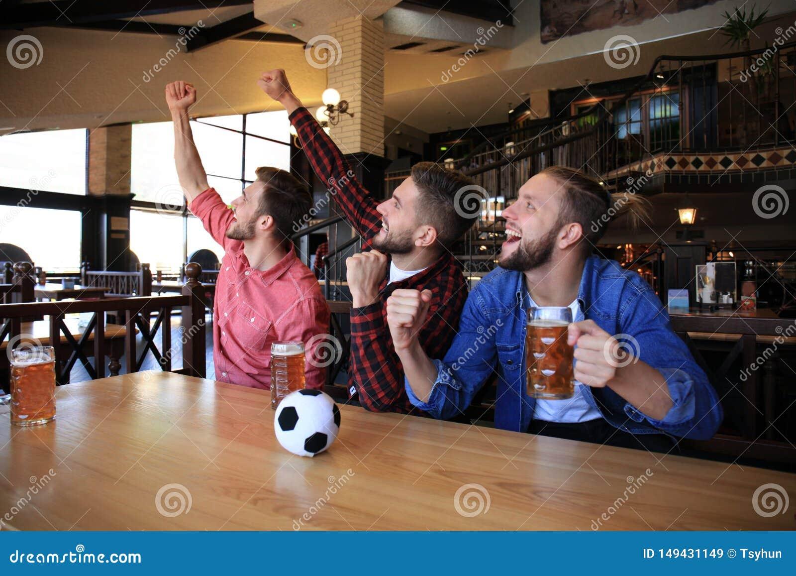 H?llande ?gonen p? fotboll i st?ng Lyckliga v?nner som dricker ?l och hurrar f?r det favorit- laget som firar seger