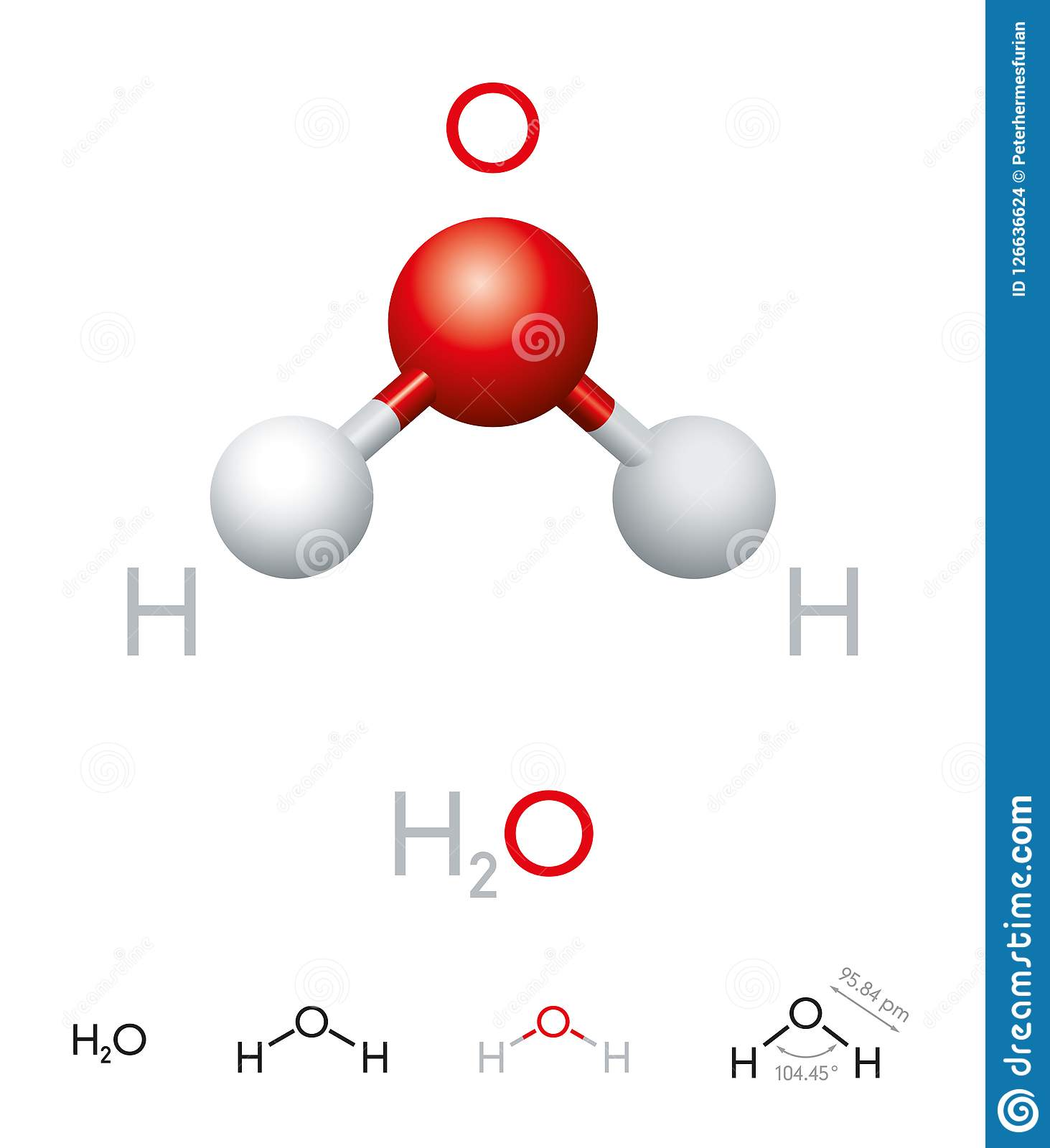 H2O Water Molecule Model And Chemical Formula Stock Vector ... H2o Compound
