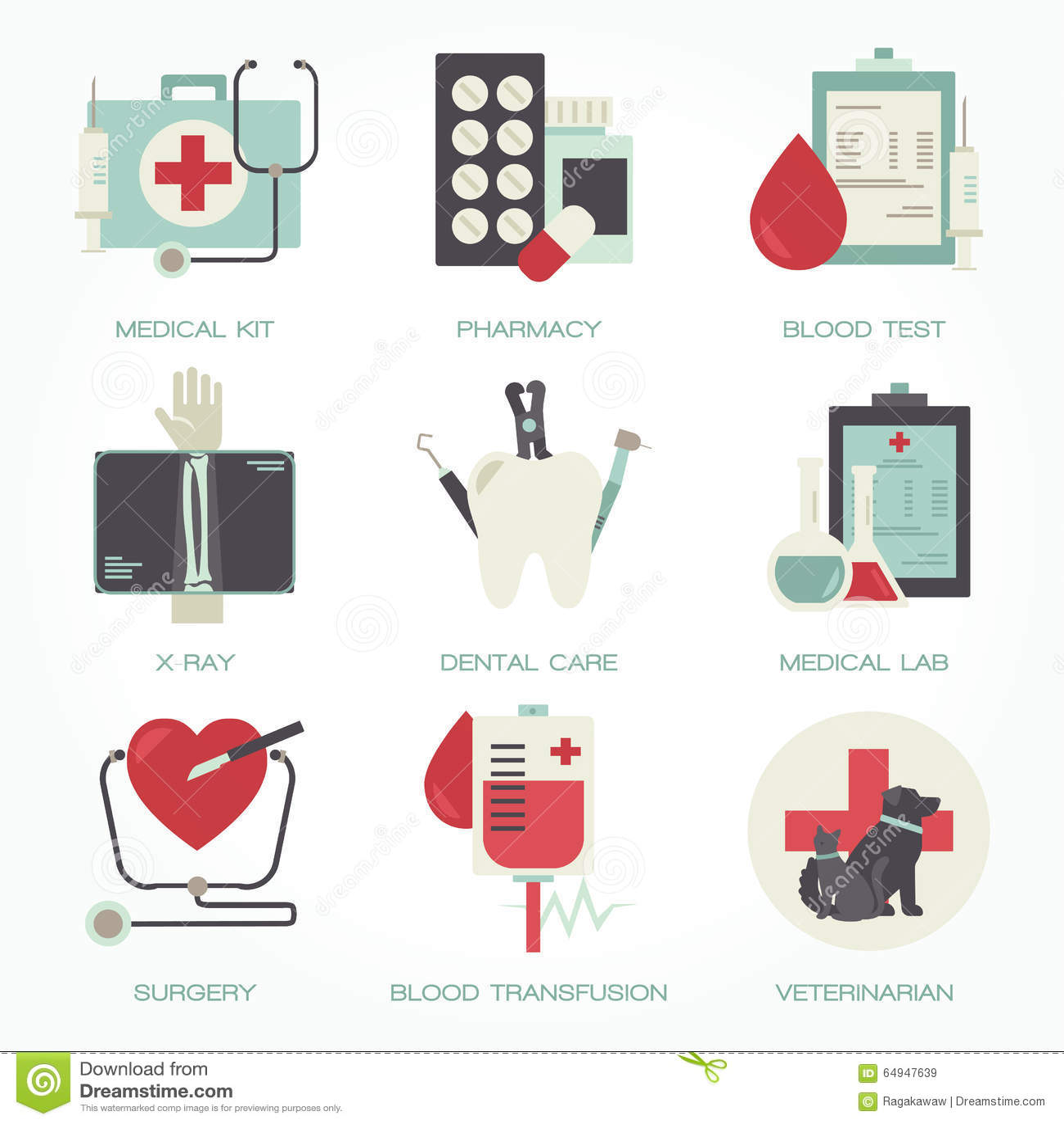 Hôpital et ensemble plat médical d icône