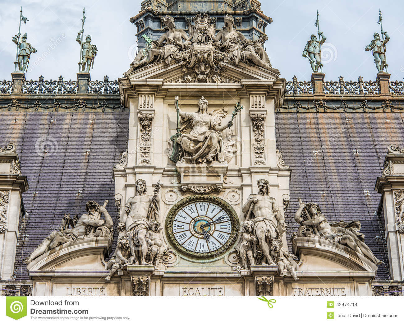 The H Tel De Ville Close Up Of The Clock Tower Stock Photo