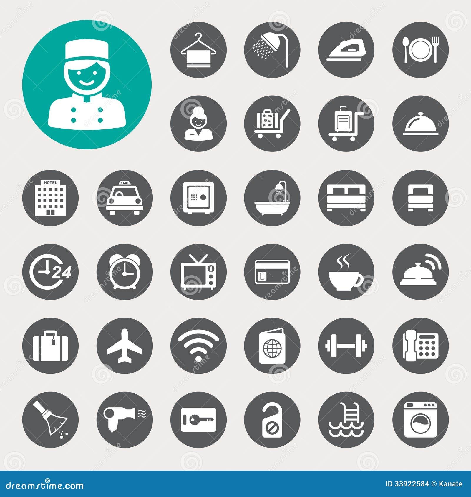 Hôtel et ensemble d icône de voyage