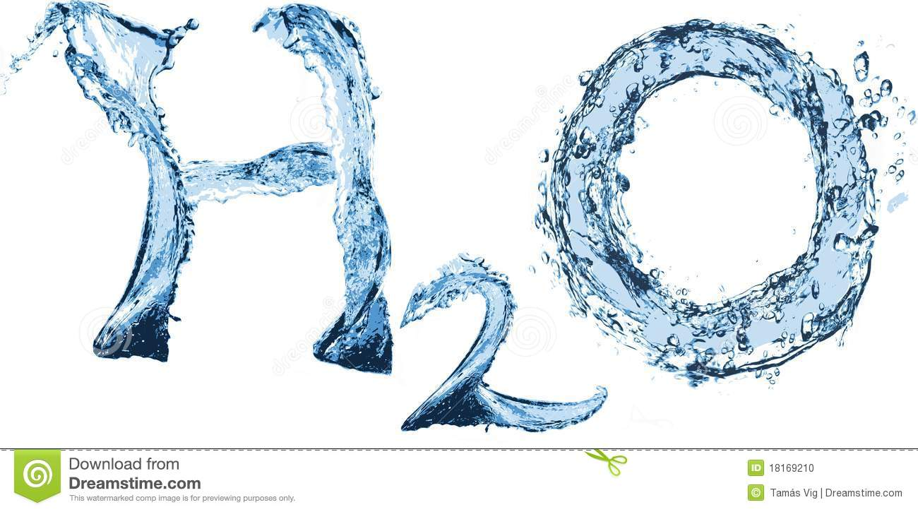 H2O sign from water with water-drops.