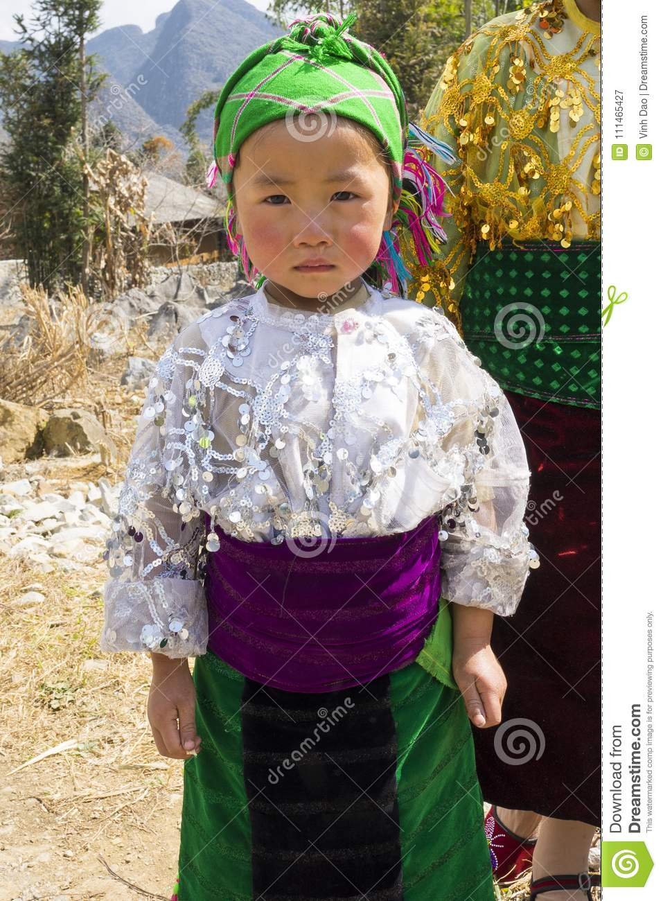 Ha Giang, Vietnam - Feb 7, 2014: Portrait of unidentified Hmong child in Ha Giang. The Hmong are an Asian ethnic group from the mo