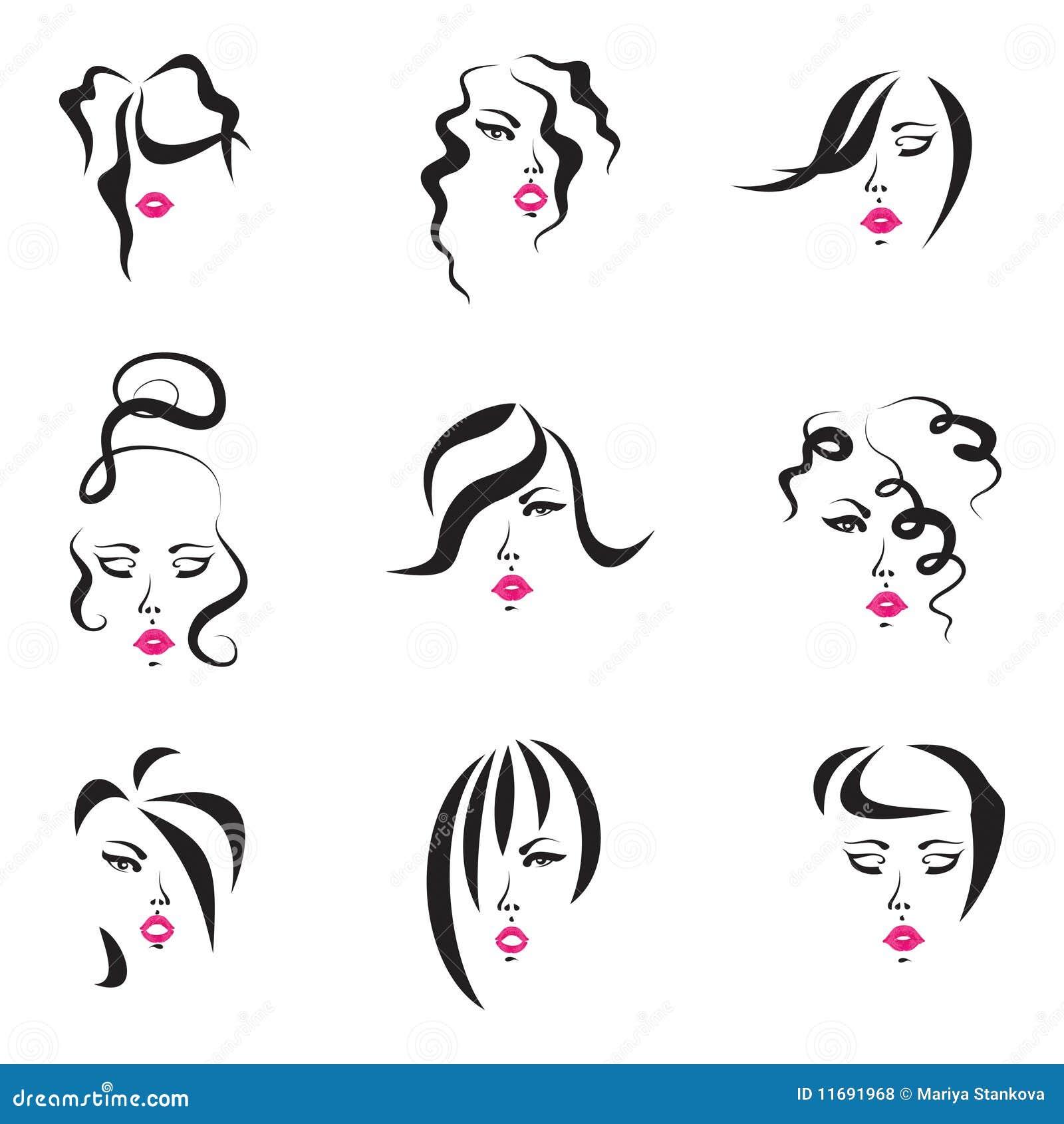 Zeichnungen von neun frauen die verschiedene frisuren haben