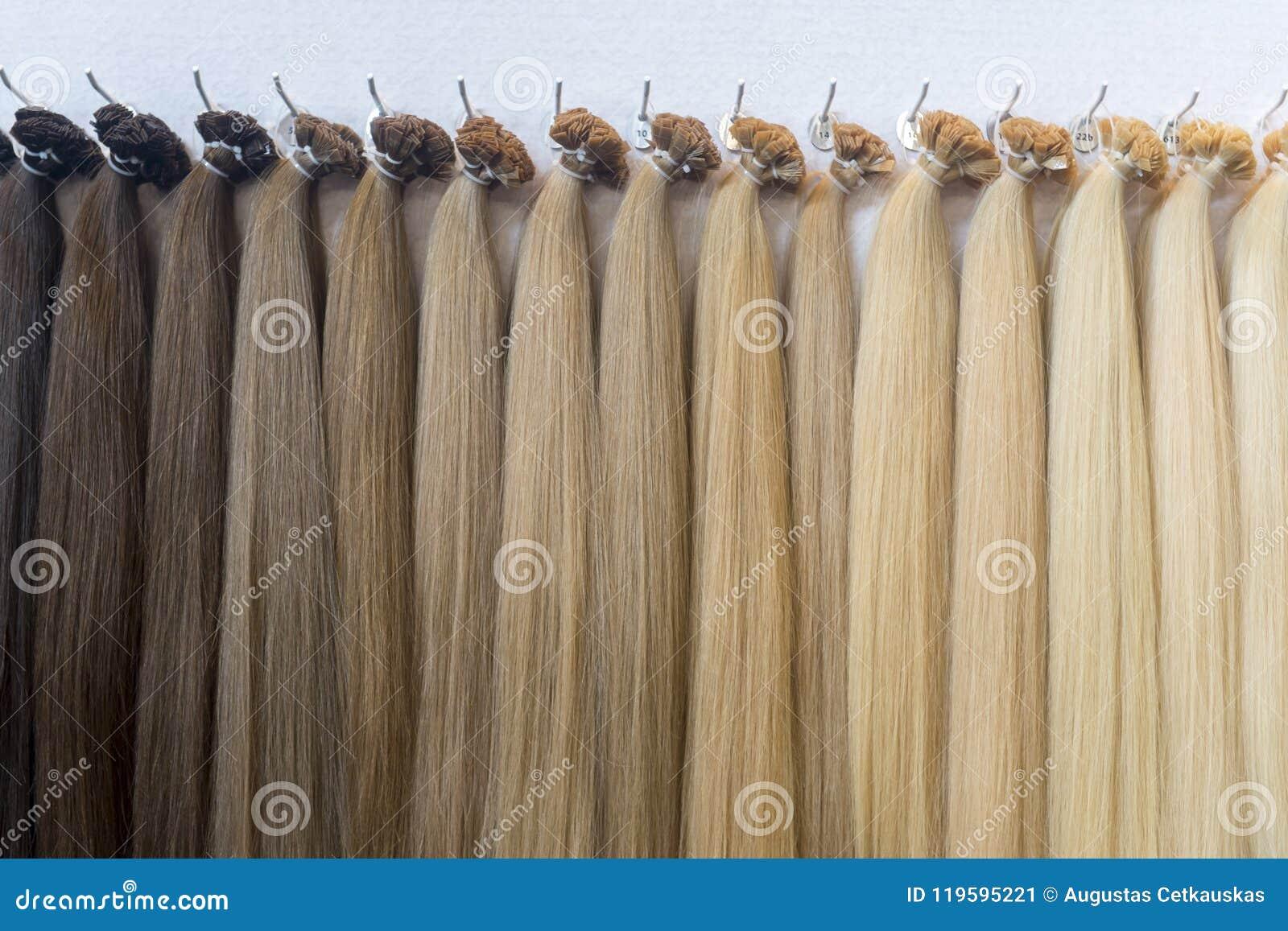 Haarfarbpalette Haar Beschaffenheitshintergrund Haarfarben Gegelegt