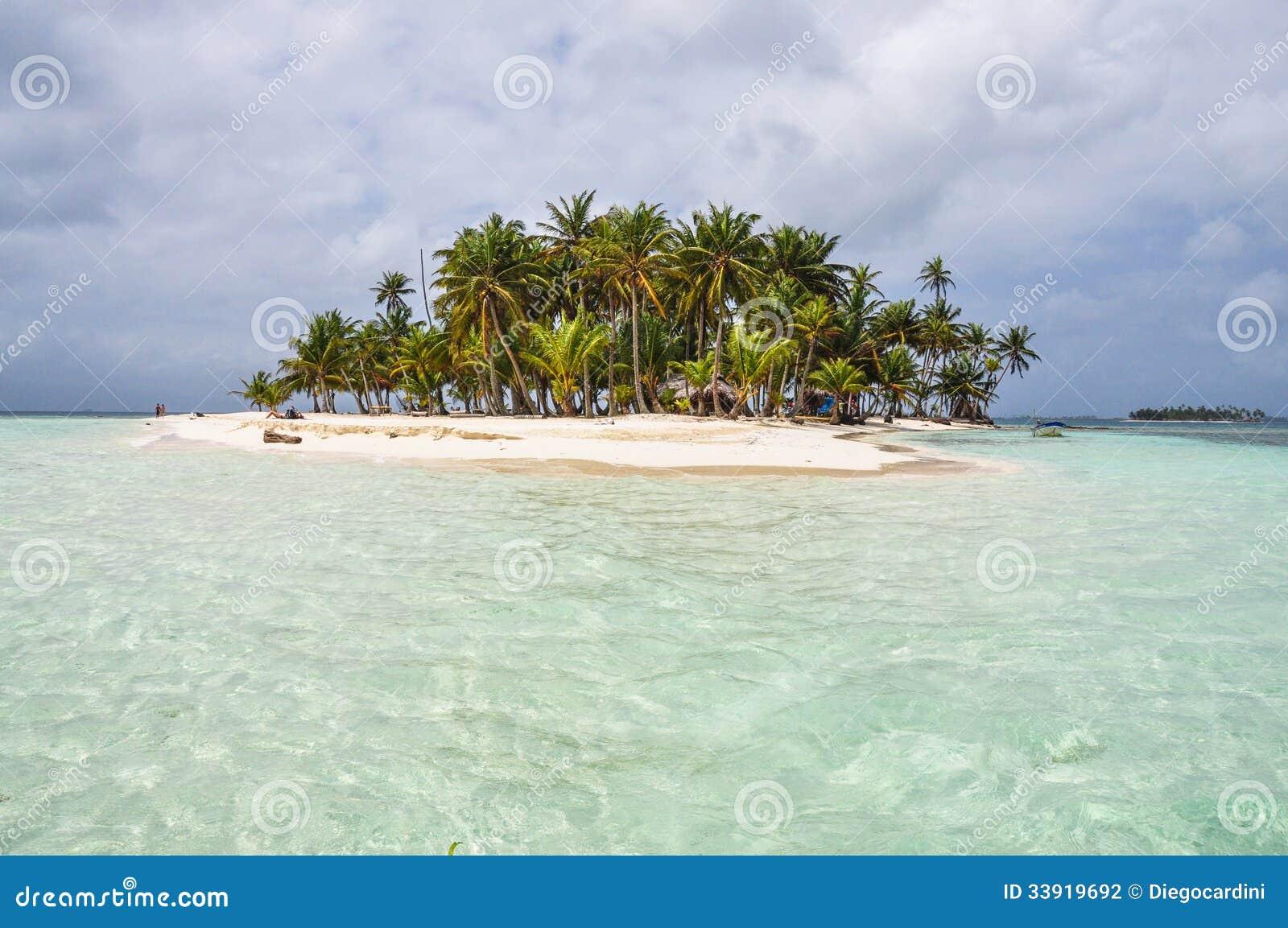 Haarscharfes Wasser in perfekter karibischer Insel. San Blas, Panama. Mittelamerika.