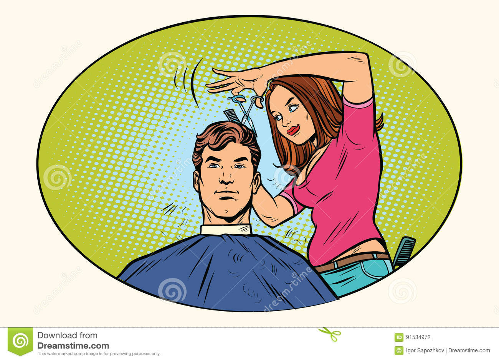 Haarschnitt Fraufriseur Der Manner Vektor Abbildung Illustration
