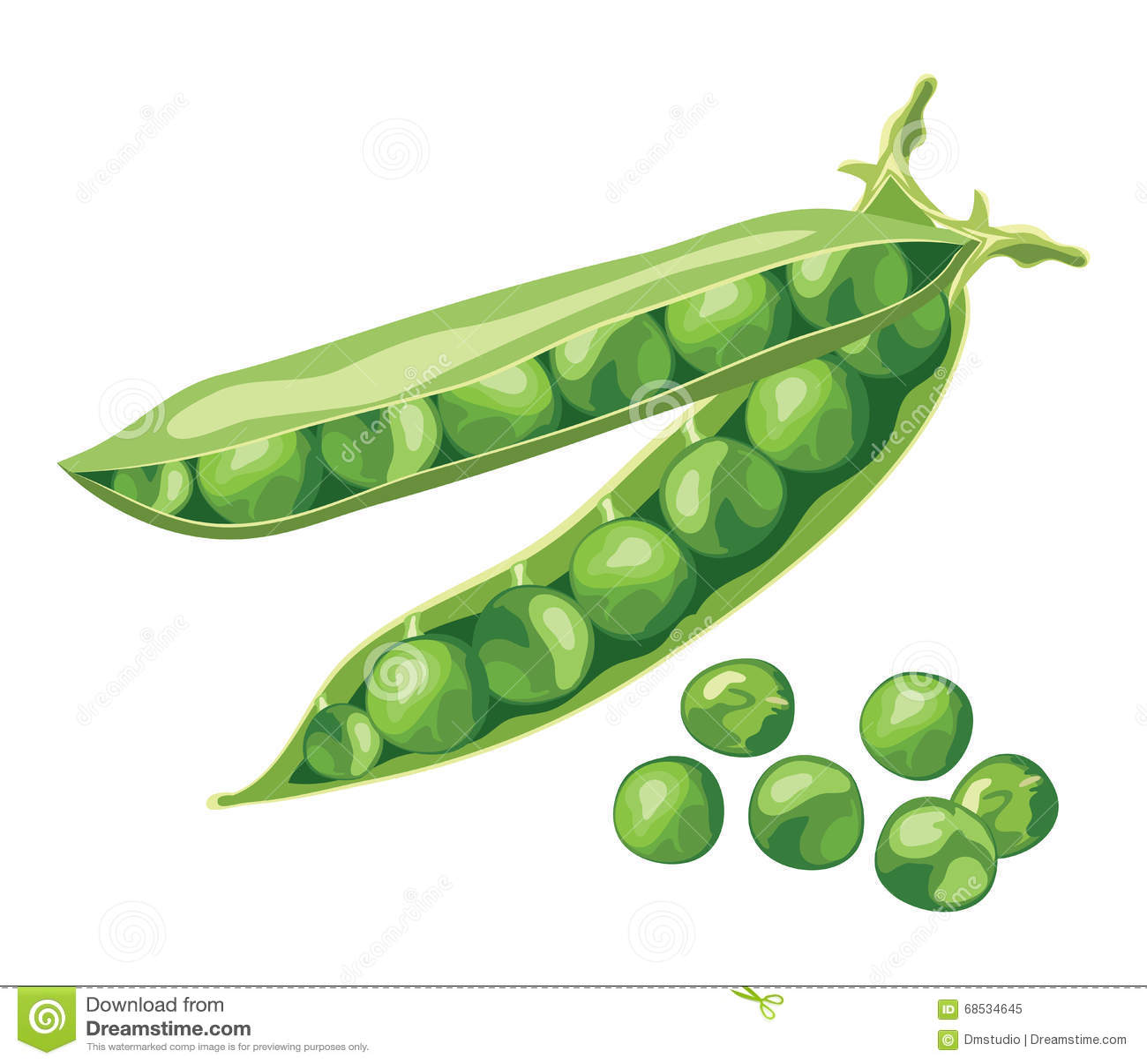 Habas de guisante verde