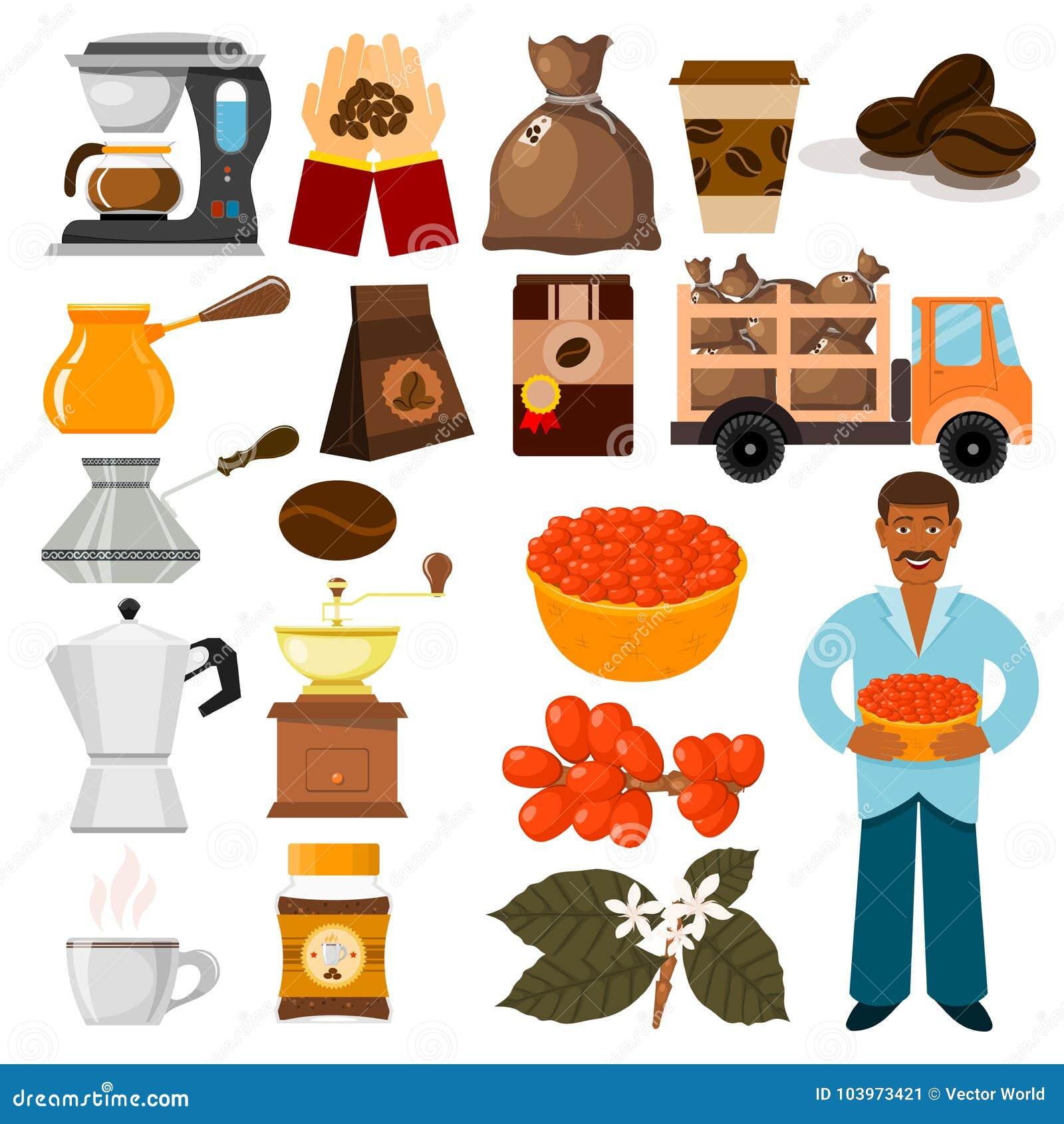 Habas del vector de la plantación de café, árbol y ejemplo de la café-haba del café del transporte