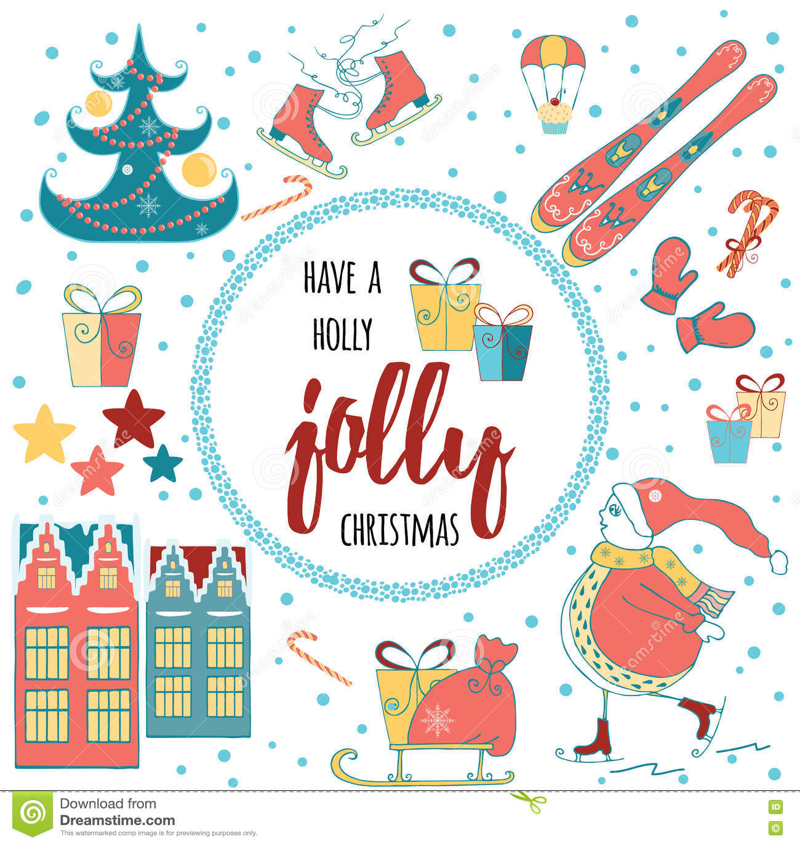 Haben Sie Eine Holly Jolly Christmas-Grußkarte Mit Kalligraphie Und ...