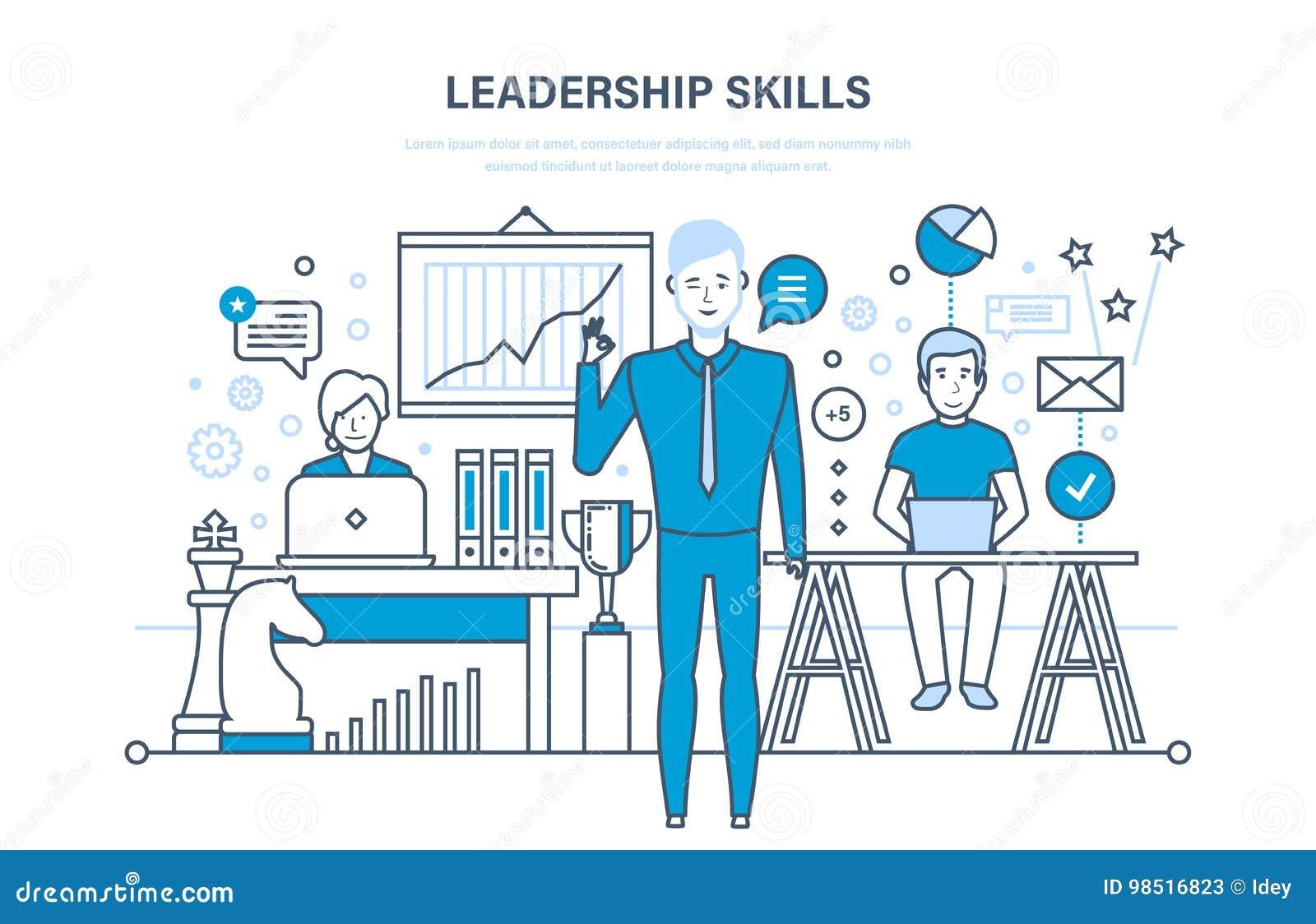 Habilidades da liderança, desenvolvimento da liderança, gestão, crescimento da carreira, qualidades pessoais da melhoria