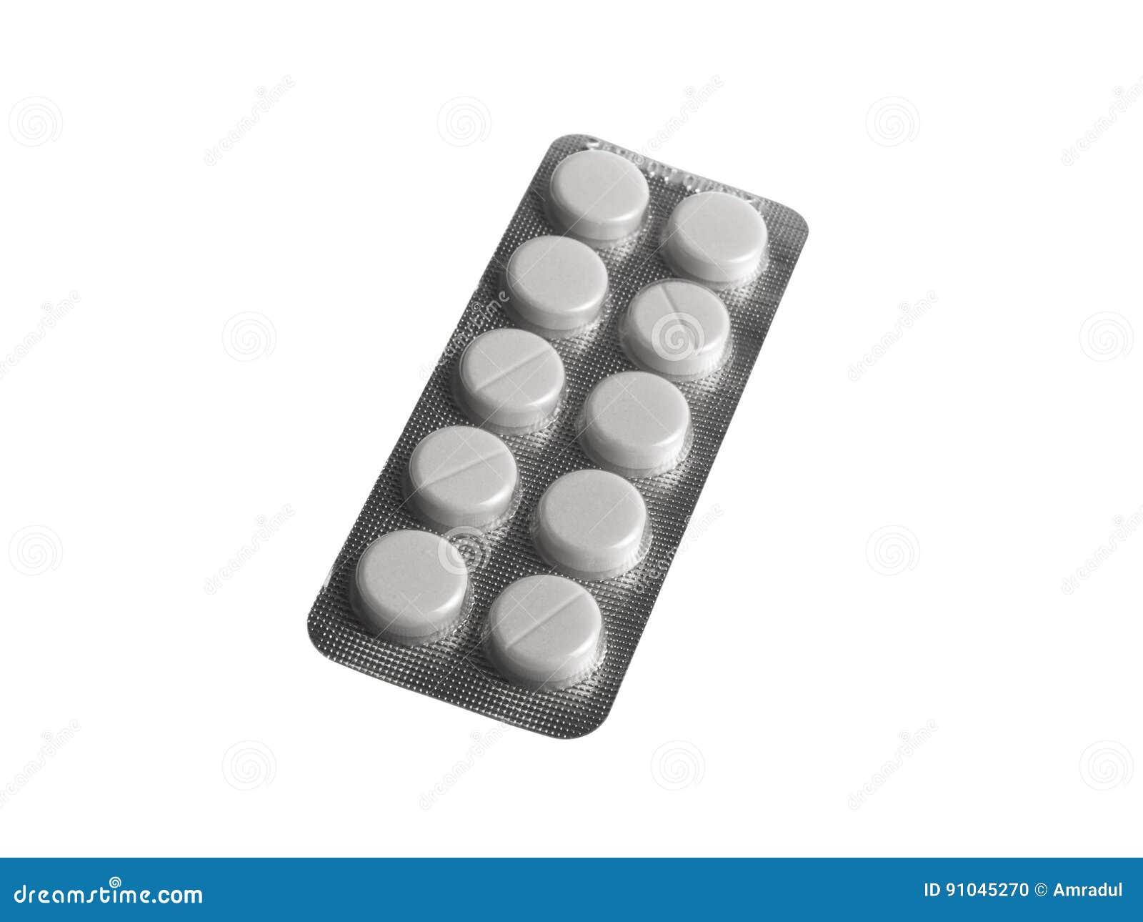 Habillage transparent de pilules sur le fond blanc