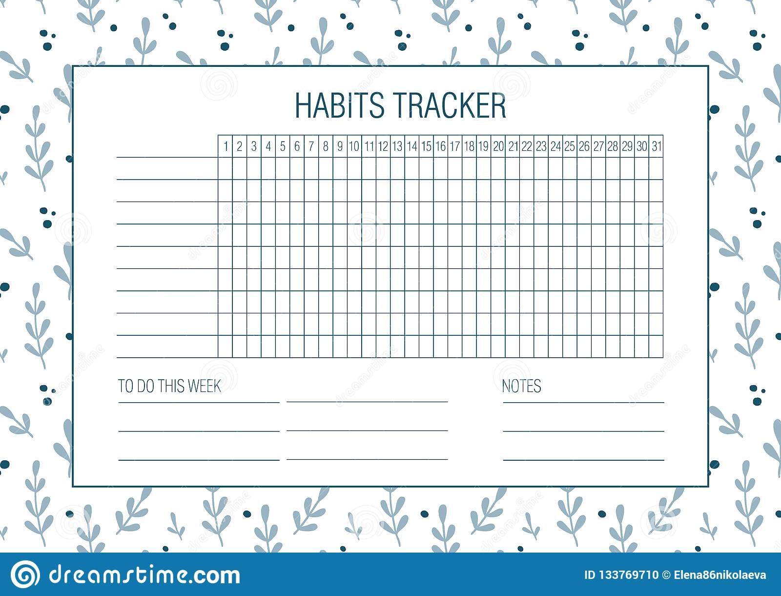 Habit tracker blank with Hand drawn floral texture