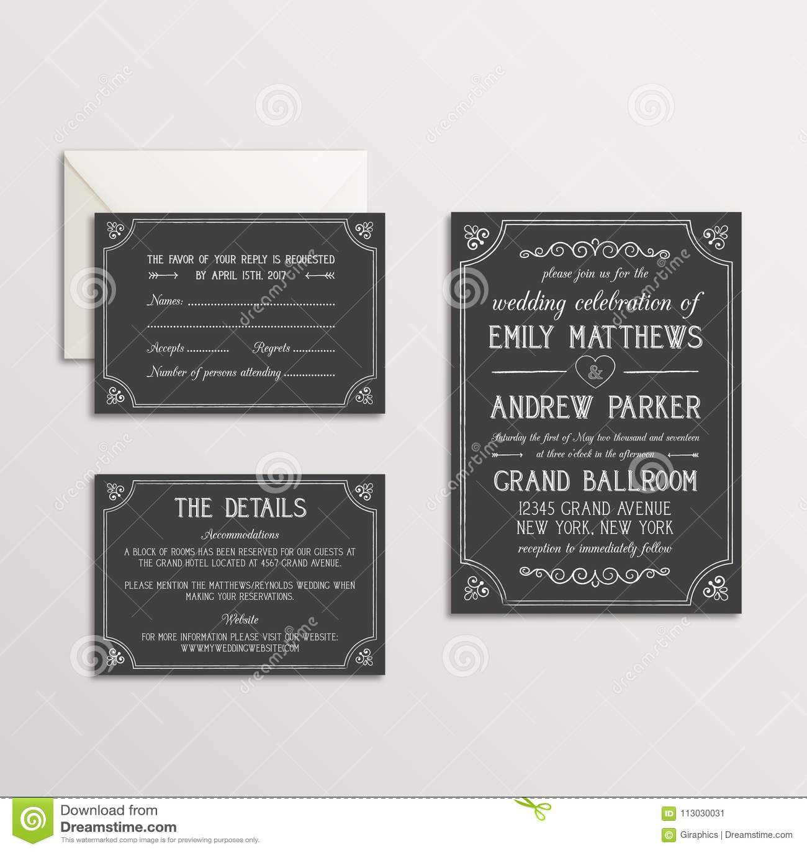 Habitación de la invitación de la boda de la tiza