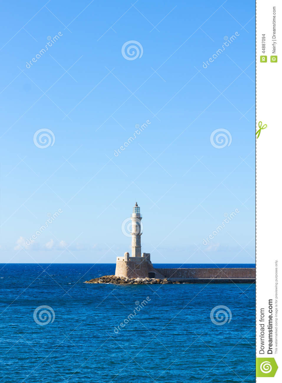 Bay of Chania with lighthouse at sunny summer day, Crete, Greece.