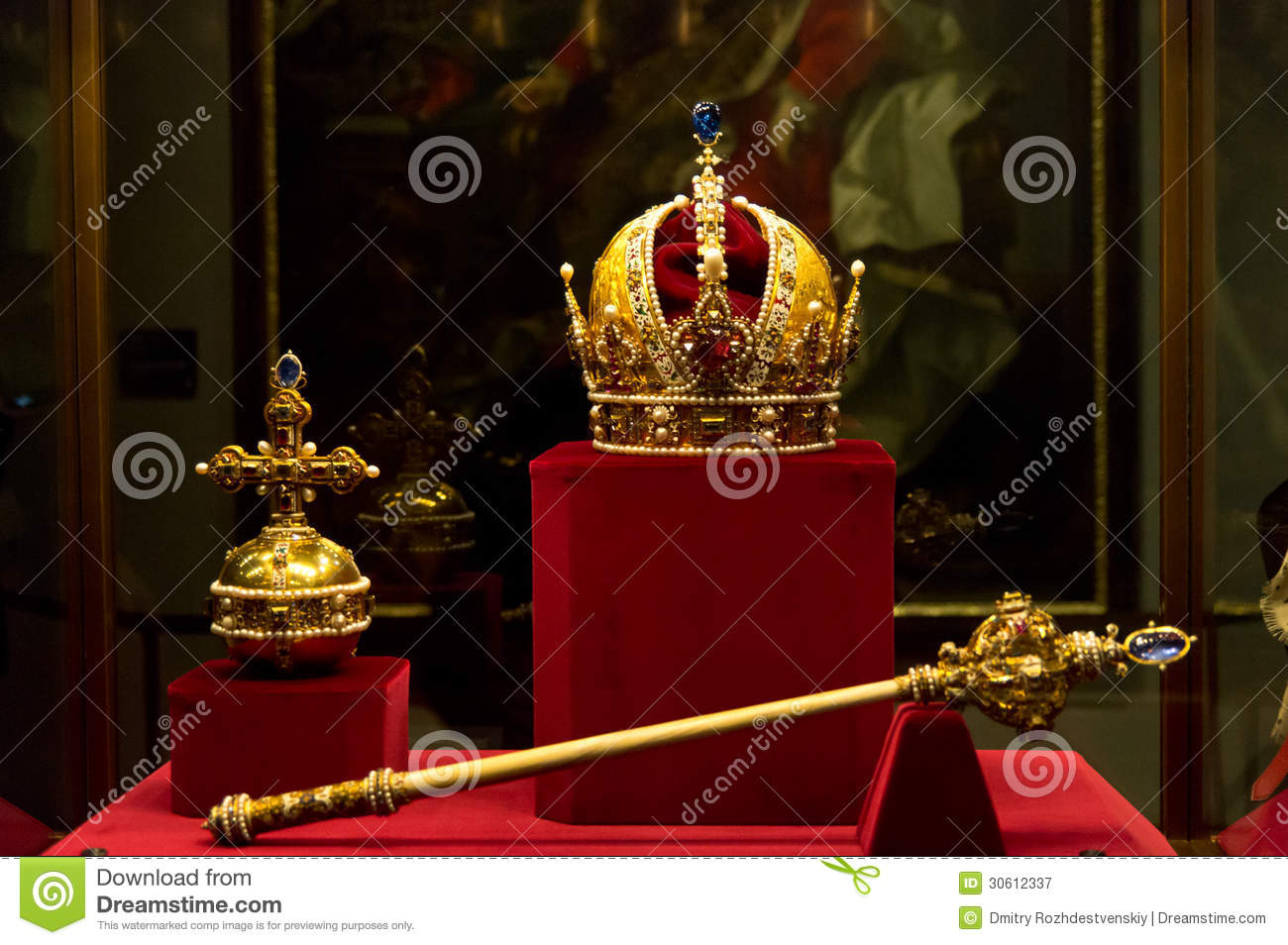 Royal king chair - Habsburgs Crown Sceptre And Orb Royalty Free Stock