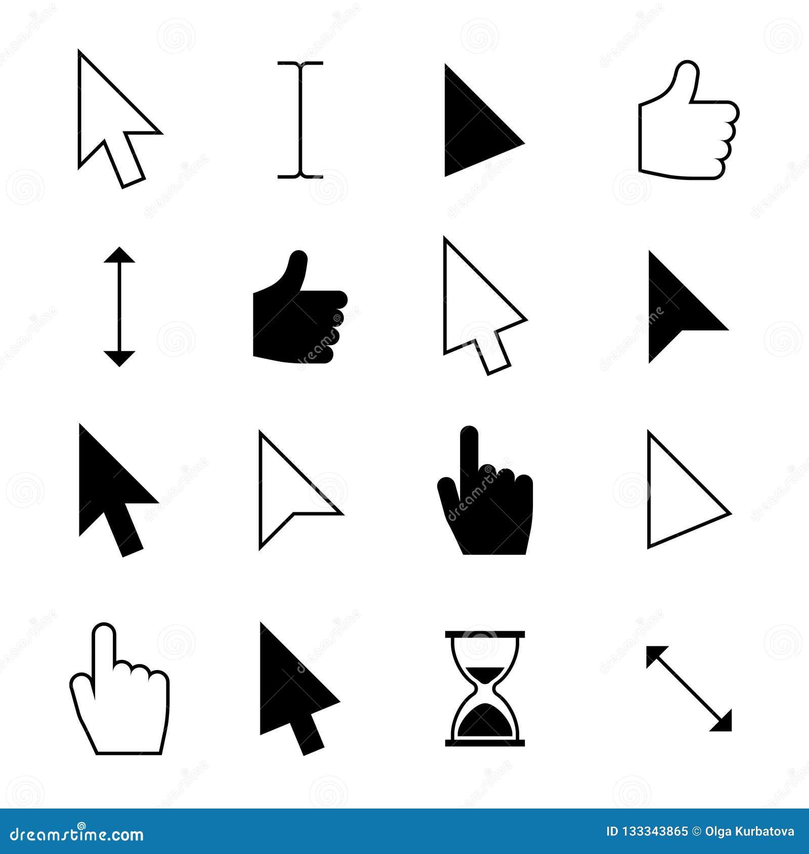 Hacer clic los cursores del ratón Indicador del finger del ordenador, cursor del tecleo de la flecha Acción de la web y elegir el