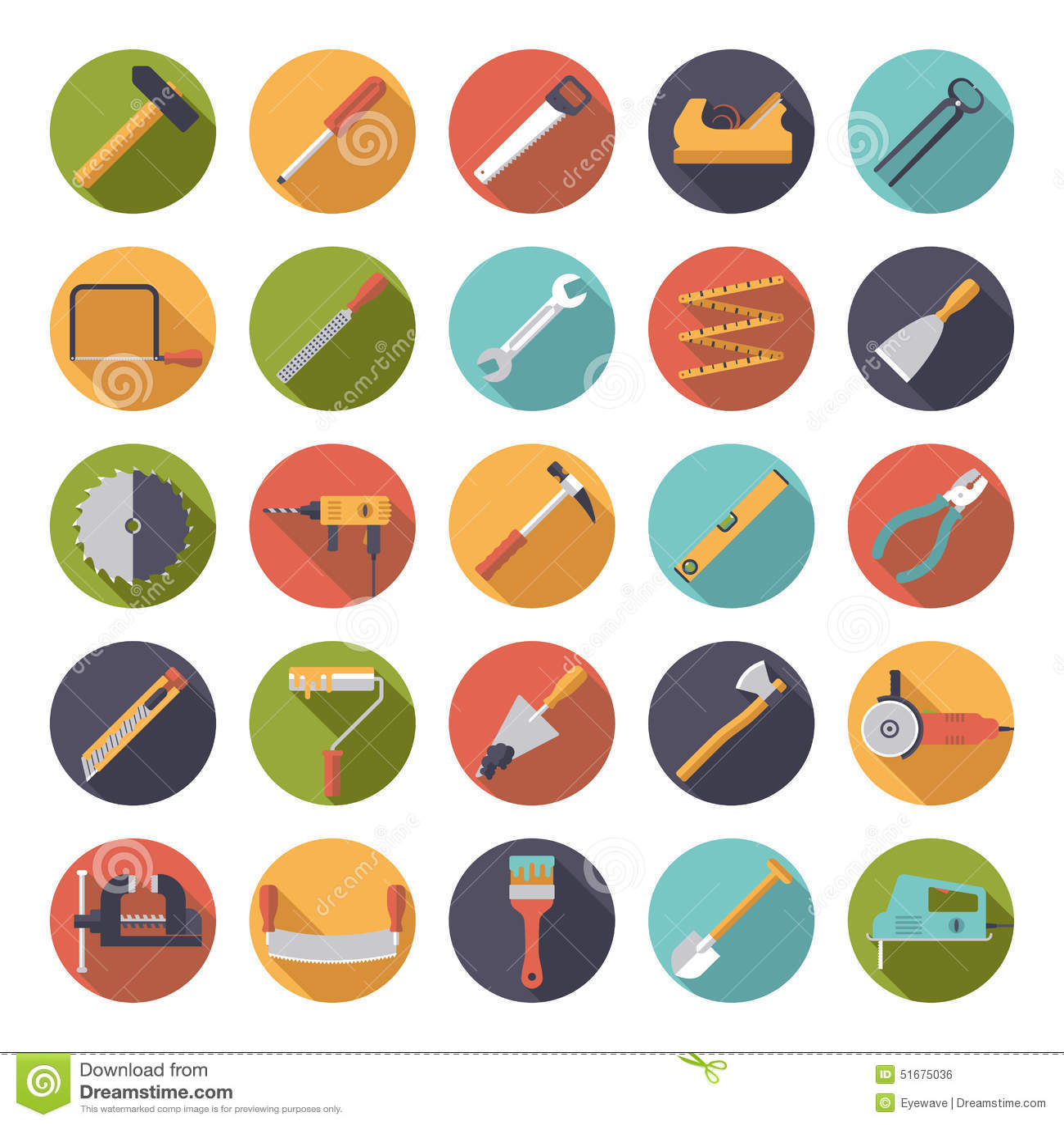 Hacer la colección plana de los iconos a mano del vector del diseño de las herramientas