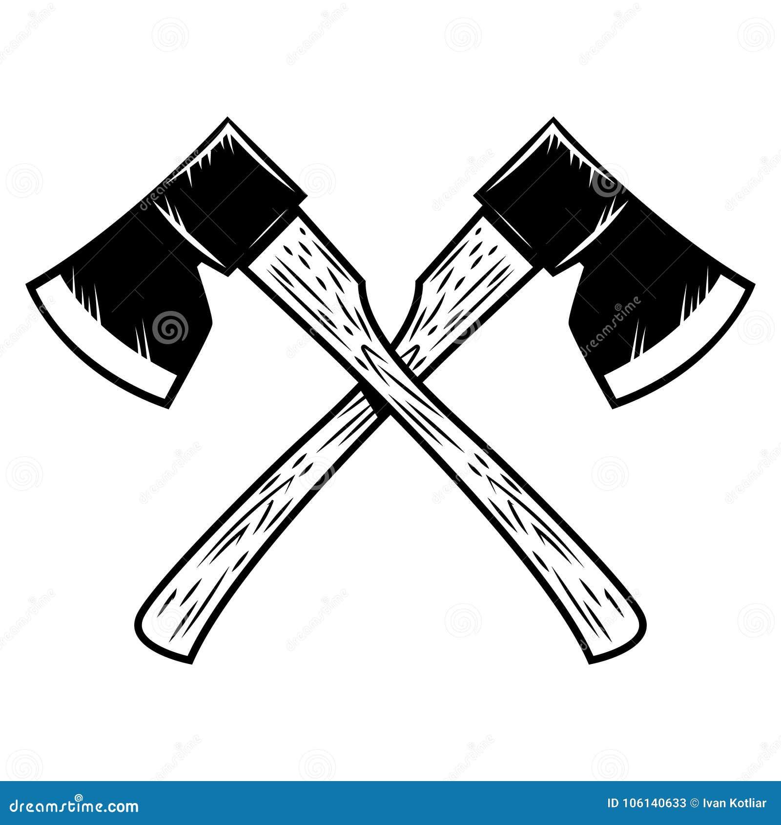 Hachas cruzadas del leñador aisladas en el fondo blanco Diseñe el elemento para el cartel, emblema, muestra, bandera