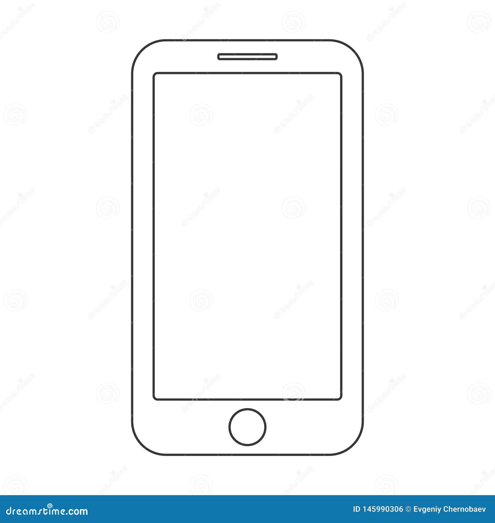 Hacia fuera l?neas negras smartphone con el bot?n del men? y la pantalla vac?a en el vector blanco del fondo Muestra del esquema