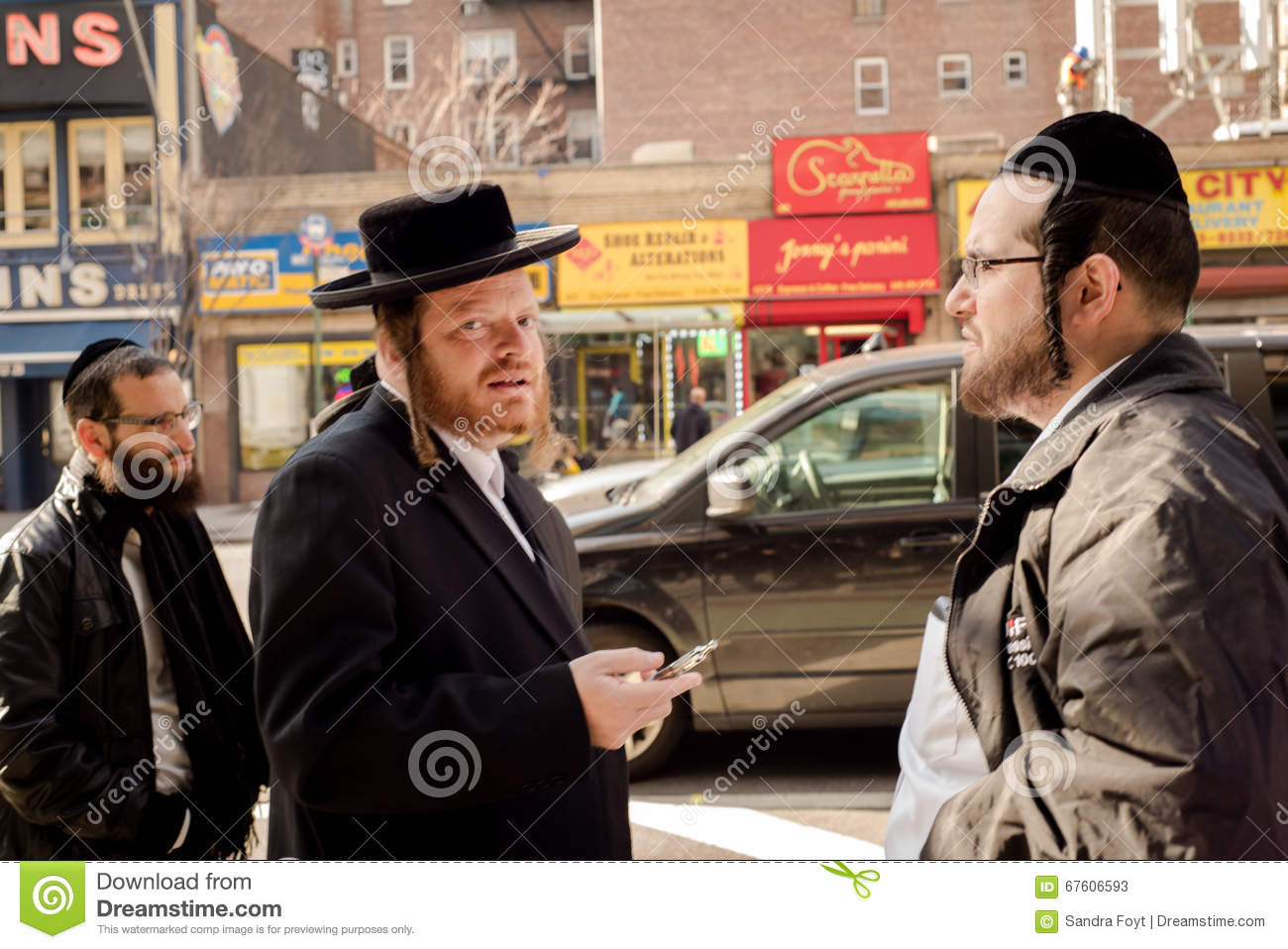Hacidic Jews Chatting In Front Of B&H Camera Store Editorial Stock ...