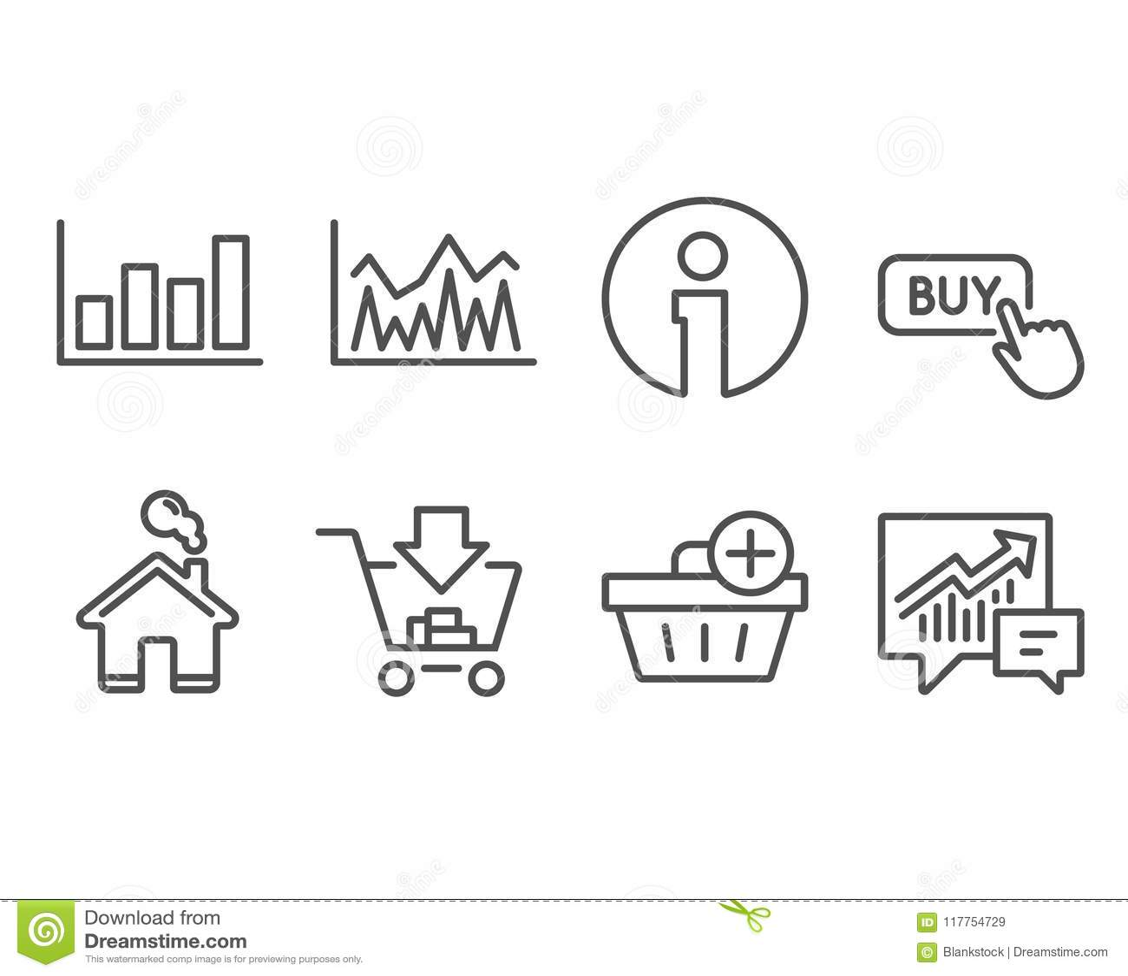 Haciendo compras, añada la compra y divulgue los iconos del diagrama Compre el botón, muestras de la inversión y de la contabilid