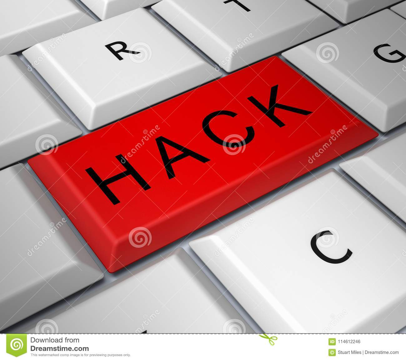 Hack Computer Red Key Shows Hacking 3d Illustration