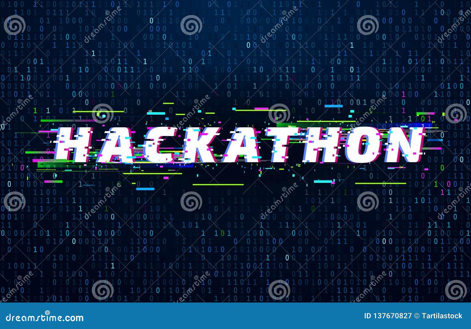 Hackathon tło Sieka maratonu cyfrowania wydarzenie, usterka plakat i nasycającego binarnych dane kodu upłynnień wektoru tło,