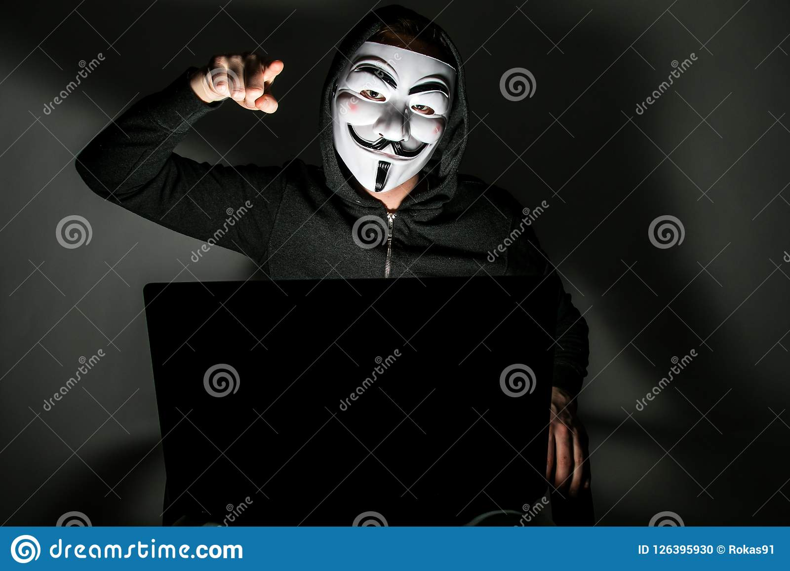 Hacker with anonymous mask editorial image  Image of data - 126395930