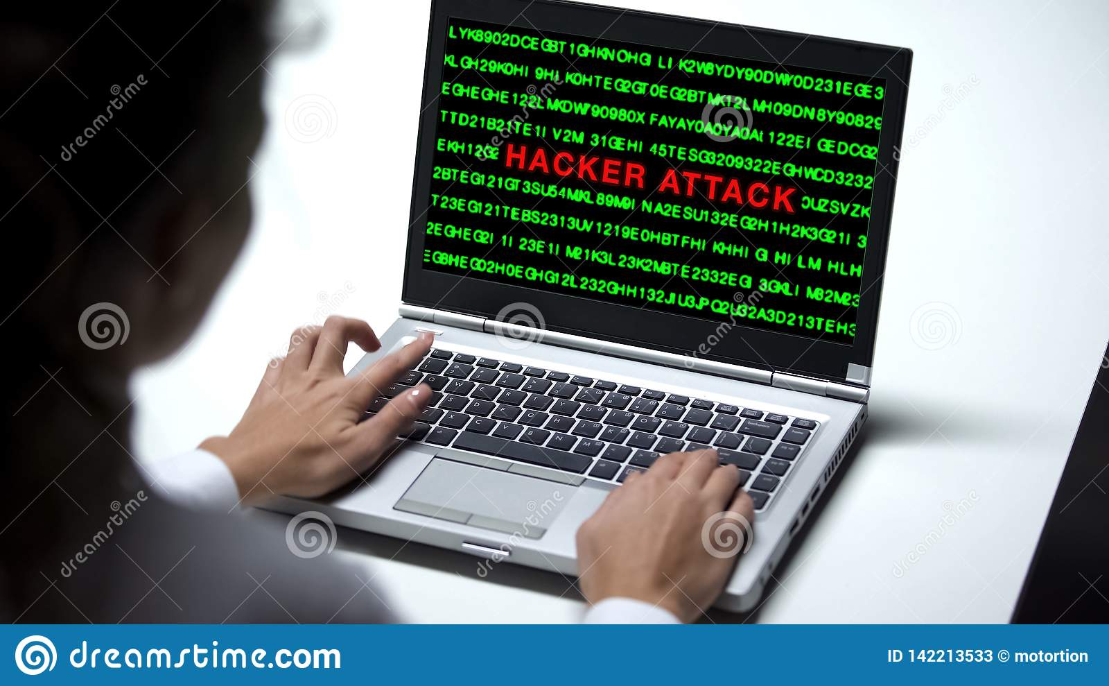 Hacker Attack On Laptop Computer, Woman Working In Office