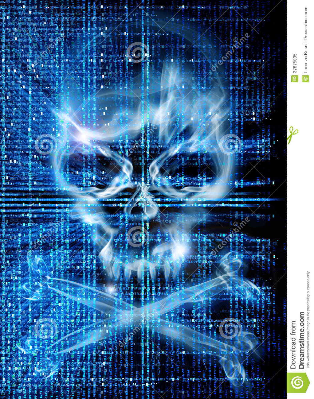 Hacker Attack With Skull Background Royalty Free Stock