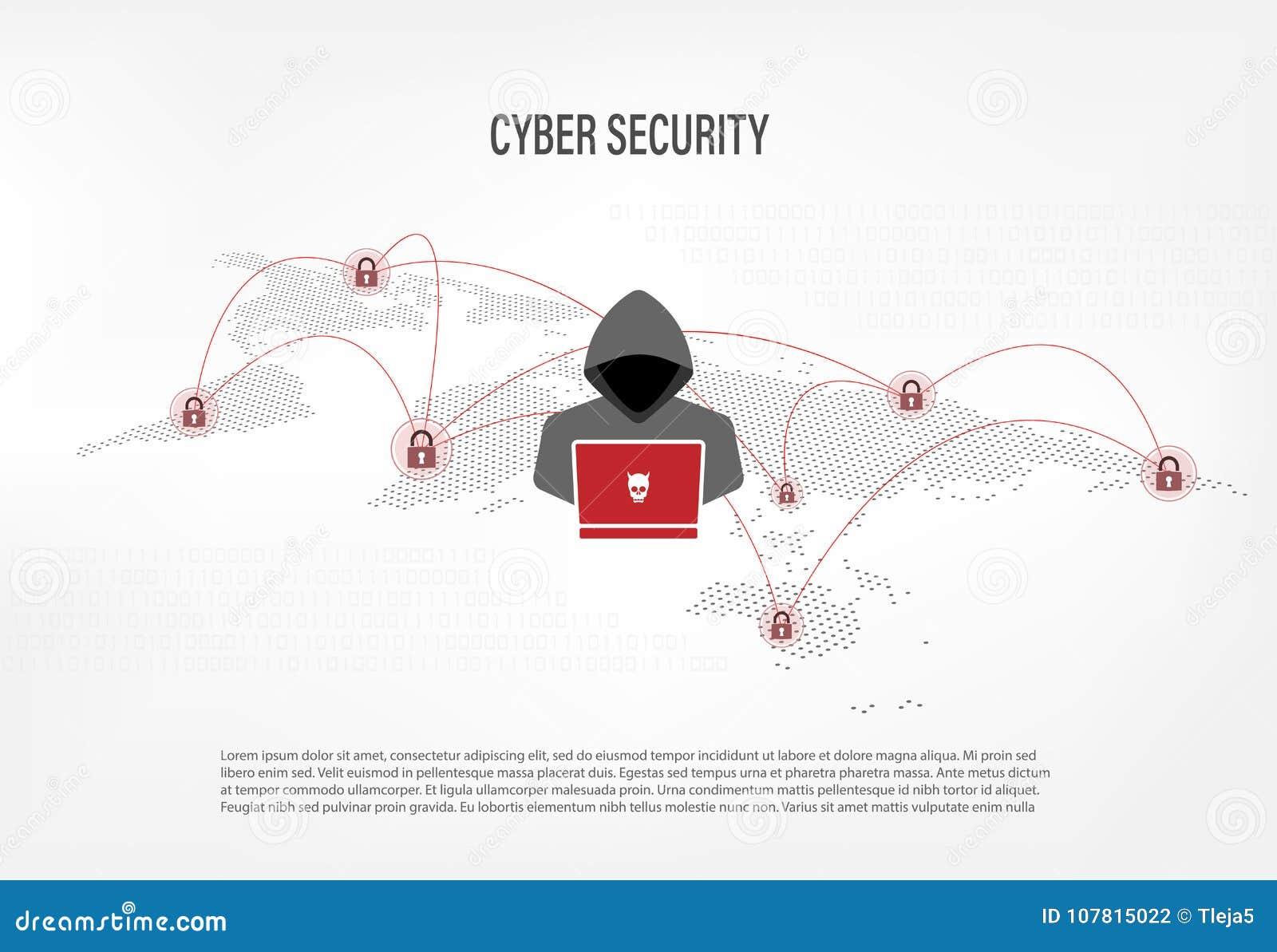 Hacker auf digitalem Hintergrund der Weltkarte