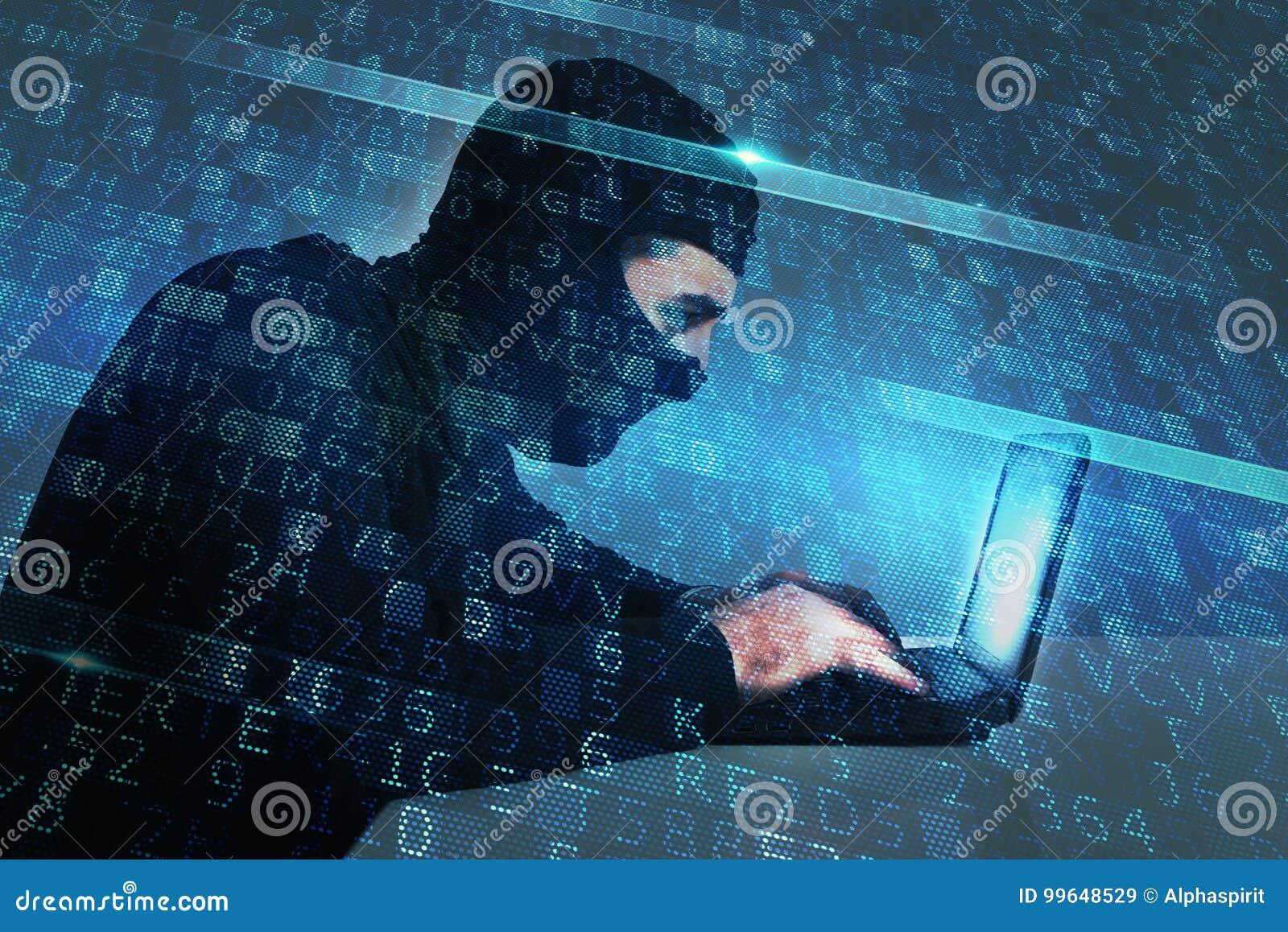 Hacker creates a backdoor access on a computer. Concept of internet security