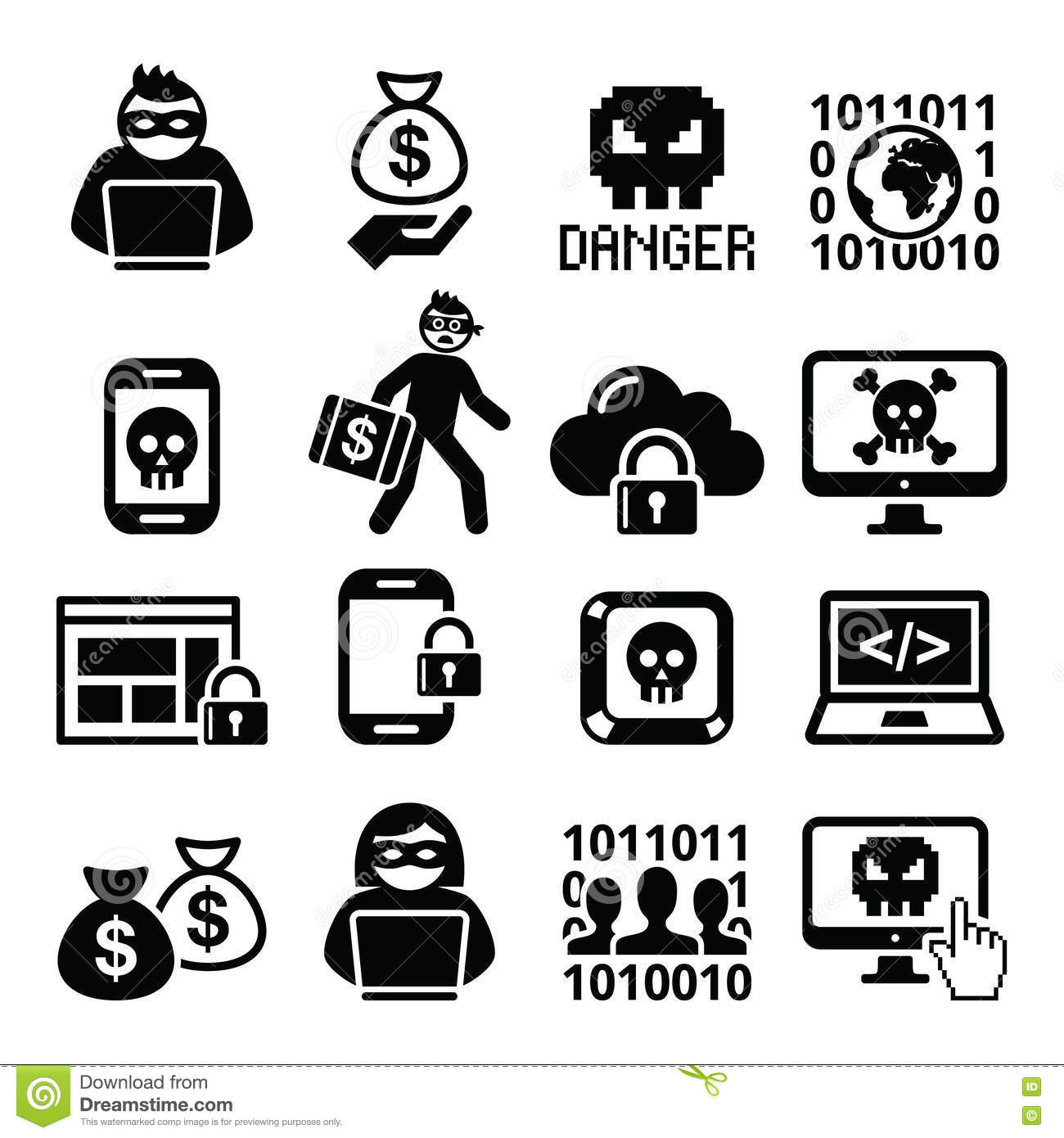 hacker icons in black and white royalty