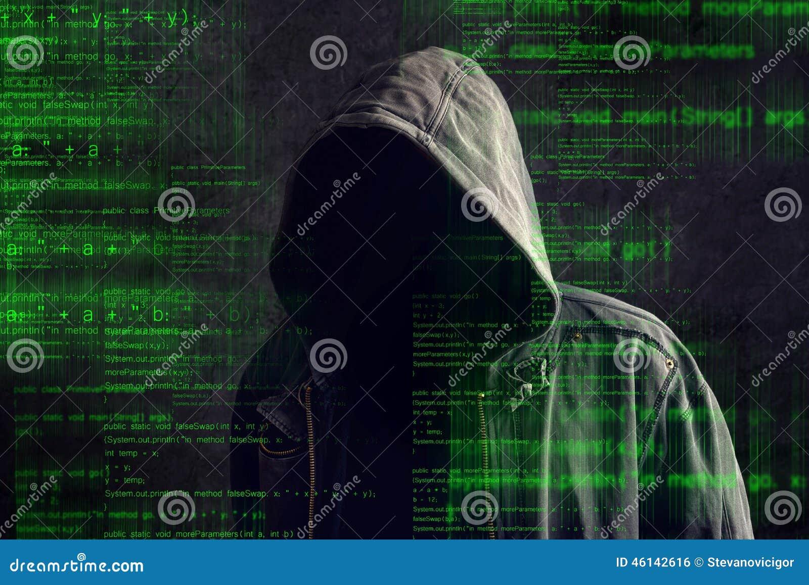 Hacker de computador anônimo encapuçado sem cara
