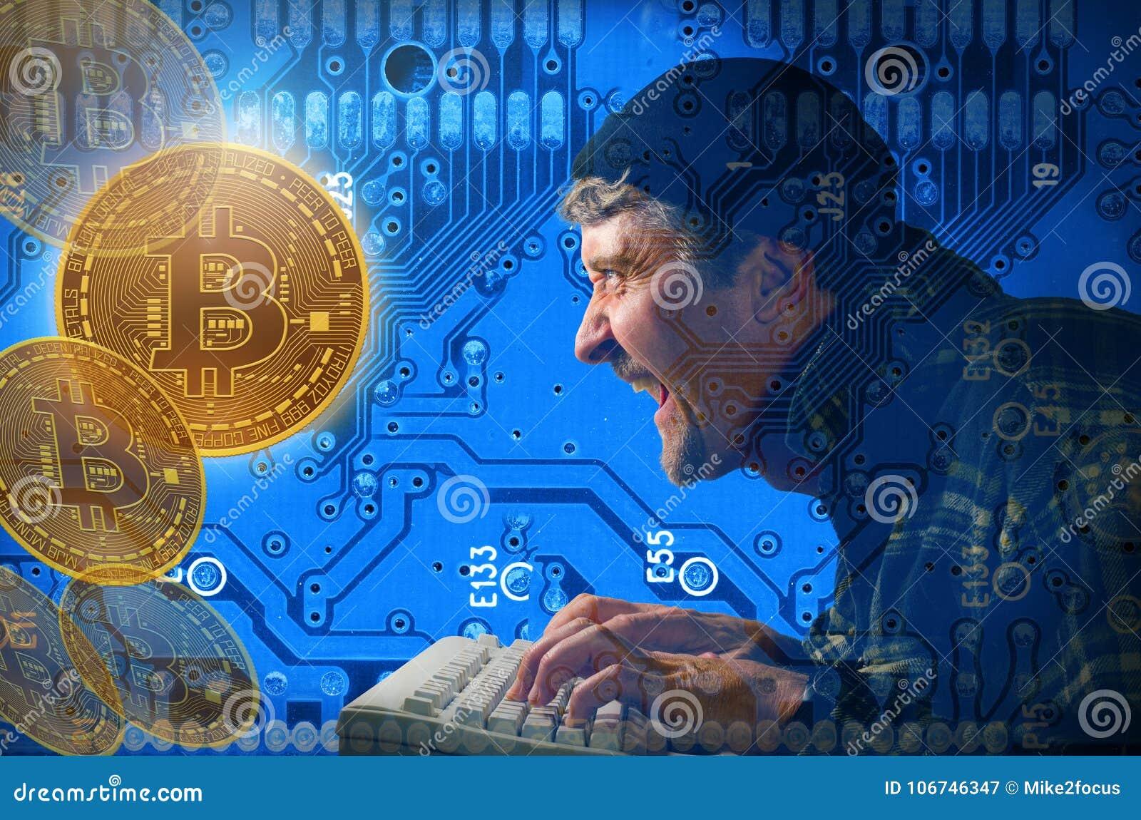 Hacker de computador que rouba e que mina Bitcoins no Internet