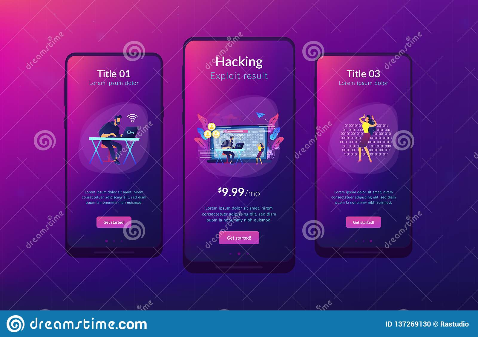 Doxing App Interface Template  Stock Vector - Illustration