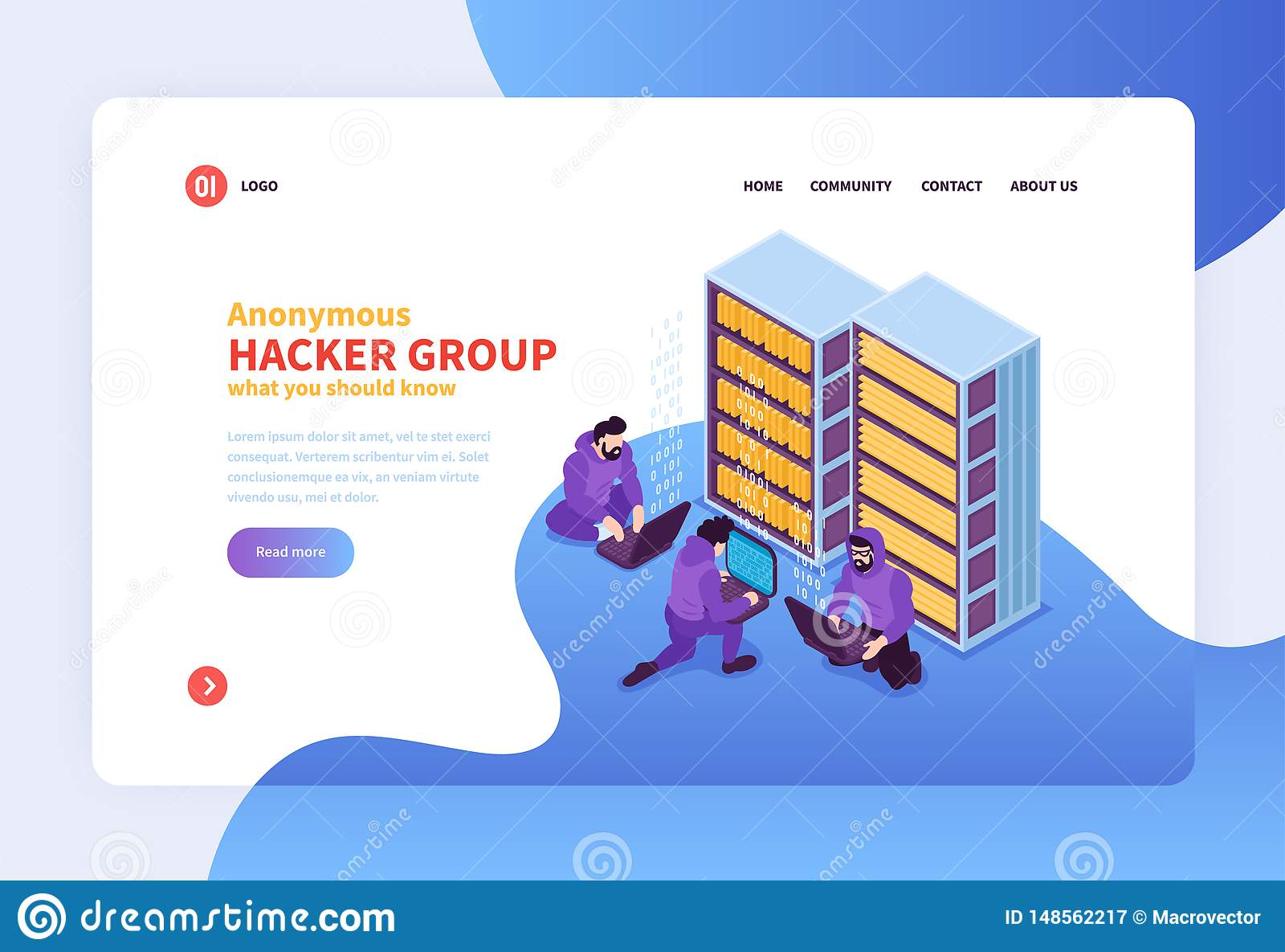 Hacker Group Landing Page stock vector  Illustration of