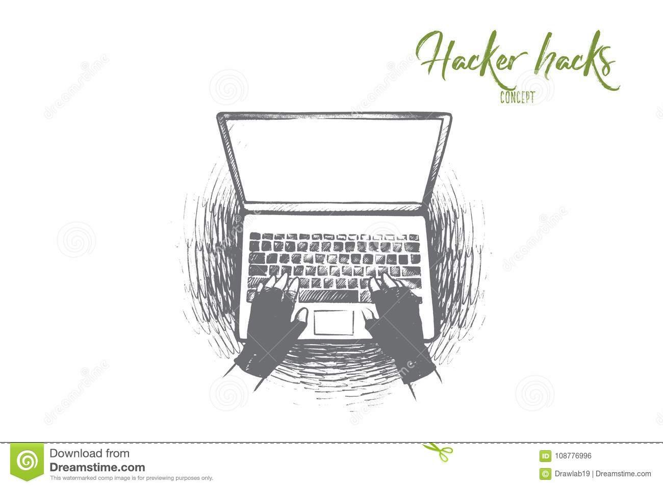 Hacker Hack Concept  Hand Drawn Isolated Vector  Stock Vector