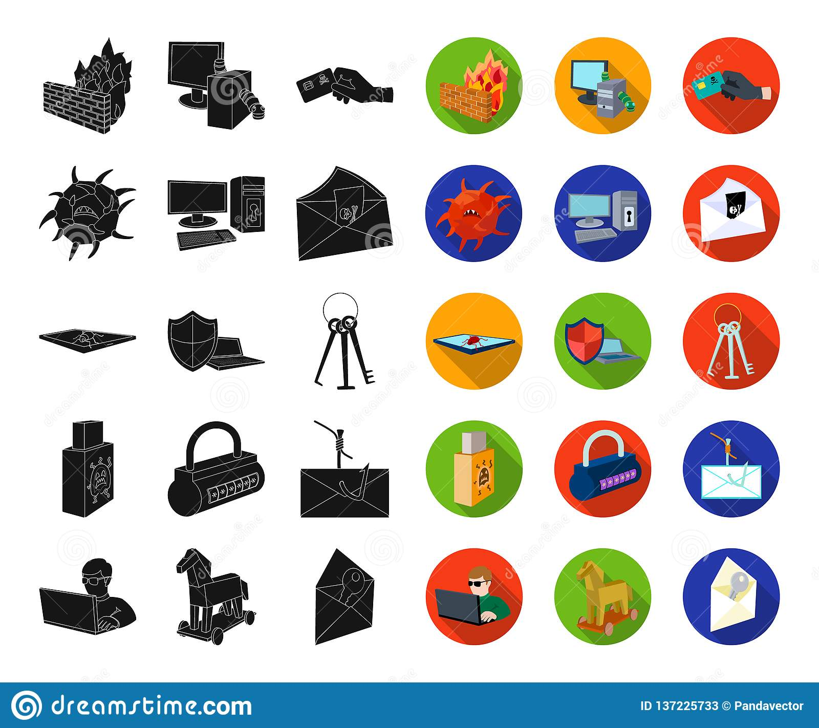 Hacker and hacking black,flat icons in set collection for design. Hacker and equipment vector symbol stock web