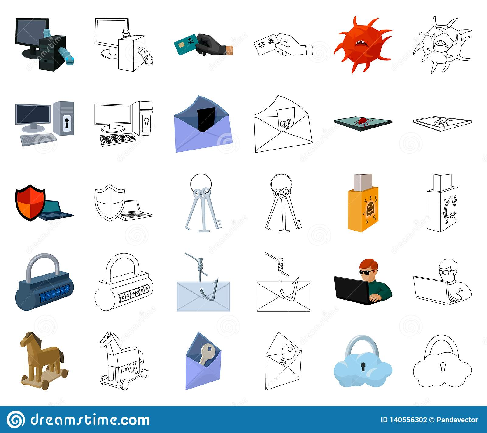 Hacker and hacking cartoon,outline icons in set collection for design. Hacker and equipment vector symbol stock web